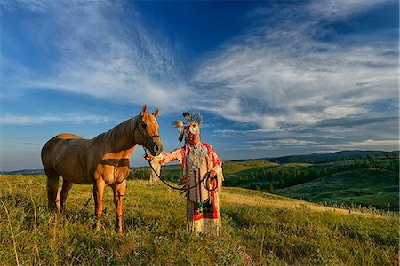 Lakota Indian in the Black Hills with Horse, Western South Dakota, USA. MR Stock Photo - Rights-Managed, Code: 862-07496312