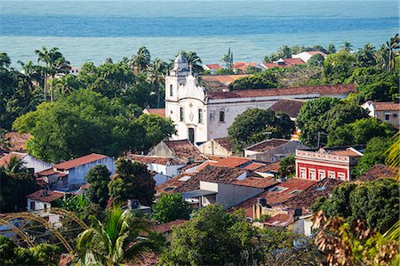 South America, Brazil, Pernambuco, Olinda, view of Olinda showing the 18th Century portuguese baroque church of St. Peter the Apostle (Igreja de Sao Pedro Apostolo) and colonial houses in the UNESCO world heritage listed old portuguese colonial town centre Stock Photo - Rights-Managed, Code: 862-07689828
