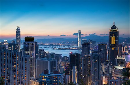 Hong Kong Island and Kowloon at sunset, Hong Kong Stock Photo - Rights-Managed, Code: 862-07689860