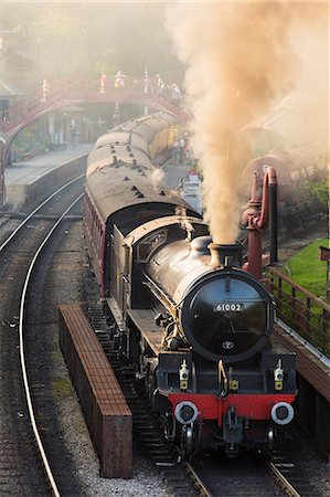 steam engine - United Kingdom, England, North Yorkshire, Goathland. The steam train 61002, 'Impala', on the North Yorkshire Moors Railway. Stock Photo - Rights-Managed, Code: 862-07689984