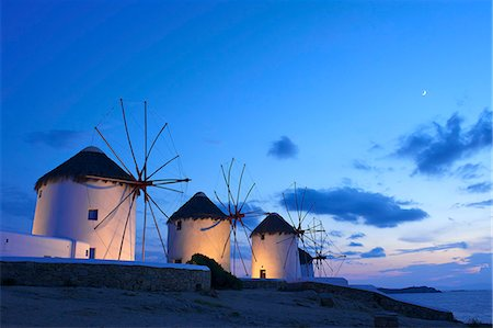 Windmills Kato Mili, Mykonos-Town, Mykonos, Cyclades, Greece Stock Photo - Rights-Managed, Code: 862-07690030
