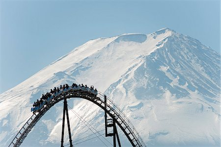 Asia, Japan, Honshu, Mt Fuji 3776m, Unesco World Heritage site, rollercoaster at Fuji Highland Stock Photo - Rights-Managed, Code: 862-07690259