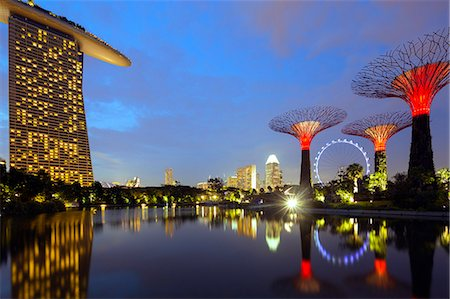 South East Asia, Singapore, South East Asia, Singapore, Gardens by the Bay and Marina Bay Sands Stock Photo - Rights-Managed, Code: 862-07690834