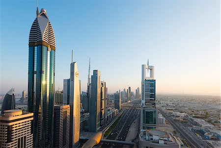 Middle East, United Arab Emirates, Dubai, city buildings on Sheikh Zayed Road Stock Photo - Rights-Managed, Code: 862-07690911