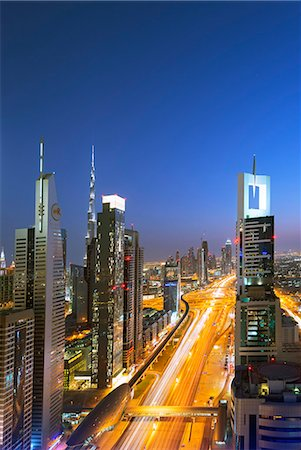 Middle East, United Arab Emirates, Dubai, city buildings on Sheikh Zayed Road Stock Photo - Rights-Managed, Code: 862-07690913