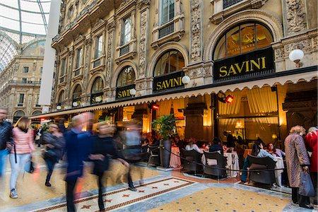 european cafe bar - Savini Restaurant, Galleria Vittorio Emanuele II gallery, Milan, Lombardy, Italy Stock Photo - Rights-Managed, Code: 862-07910048