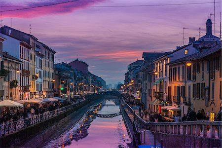 Naviglio Grande canal, Milan, Lombardy, Italy Stock Photo - Rights-Managed, Code: 862-07910049