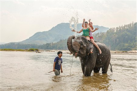 Laos, Luang Prabang. European tourists bathing with an elephant in the Mekong river (MR) Stock Photo - Rights-Managed, Code: 862-07910232