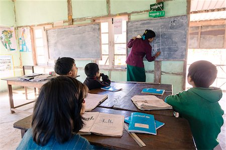 Myanmar, Chin State, Kempetlet. Teacher and pupils Inside a local primary school (MR) (PR) Stock Photo - Rights-Managed, Code: 862-07910310