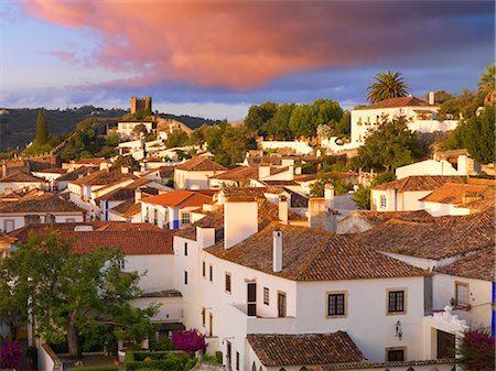 portugal - Portugal, Estramadura,Obidos, overview of 12th century town at dusk Stock Photo - Rights-Managed, Code: 862-07910510