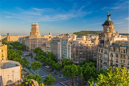 Top view of Passeig de Gracia, Barcelona, Catalonia, Spain Stock Photo - Rights-Managed, Code: 862-07910701