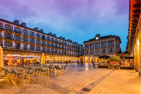 Plaza de la Constitucion by night, Donostia San Sebastian, Gipuzkoa, Basque Country, Spain Stock Photo - Rights-Managed, Code: 862-07910753