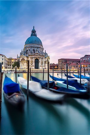 Italy, Veneto, Venice. Santa Maria della Salute church on the Grand Canal, at sunset Stock Photo - Rights-Managed, Code: 862-08090394