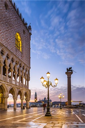 Italy, Veneto, Venice. Sunrise over Piazzetta San Marco and Doges palace Stock Photo - Rights-Managed, Code: 862-08090425