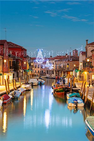Europe, Italy, Veneto, Venice, Murano, Christmas decoration on a canal Stock Photo - Rights-Managed, Code: 862-08090572