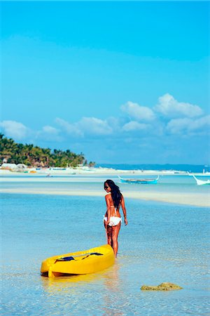 sandi model - South East Asia, Philippines, The Visayas, Cebu, Bantayan Island, Paradise Beach, girl with a kayak (MR) Stock Photo - Rights-Managed, Code: 862-08091009