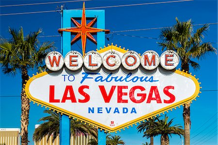 Welcome to Fabulous Las Vegas sign, Las Vegas, Nevada, USA Stock Photo - Rights-Managed, Code: 862-08091467