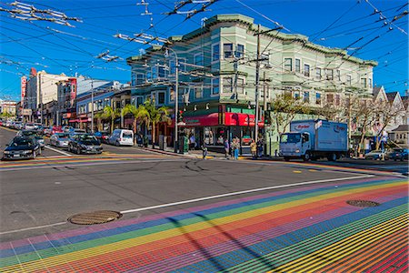 Pedestrian crossing with rainbow flag colors strips in Castro Street, San Francisco, California, USA Stock Photo - Rights-Managed, Code: 862-08091472