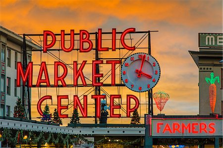 Pike Place Market neon sign at sunset, Seattle, Washington, USA Fotografie stock - Rights-Managed, Codice: 862-08091473