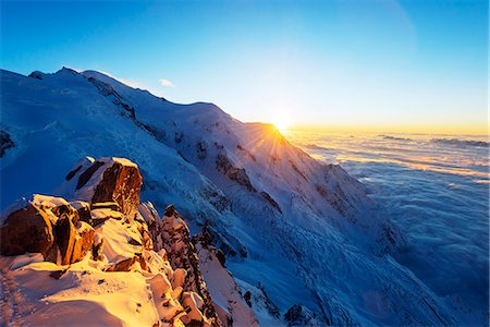 snow capped - Europe, France, Haute Savoie, Rhone Alps, Chamonix, Mont Blanc (4810m), sunset Stock Photo - Rights-Managed, Code: 862-08273119