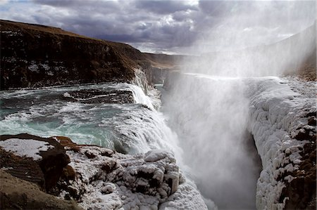 Gullfoss waterfall on the Hvita River in southwest Iceland, photographed in March Stock Photo - Rights-Managed, Code: 862-08273225