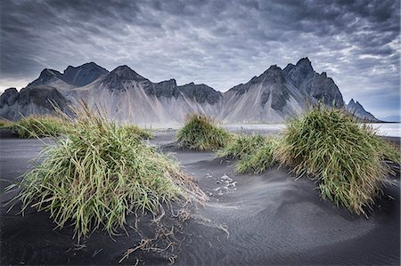 Iceland, Vestrahorn mount and black sand beach in foreground, near Vik Stock Photo - Rights-Managed, Code: 862-08273220