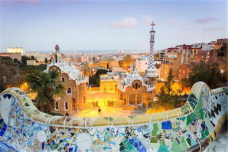 Barcelona, Park Guell, Spain, the modernism park designed by Antonio Gaudi, dusk Stock Photo - Rights-Managed, Code: 862-08273821