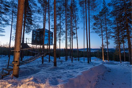 Arctic Circle, Lapland, Scandinavia, Sweden, The Tree Hotel, the Mirror Cube room Stock Photo - Rights-Managed, Code: 862-08273834
