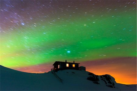 Arctic Circle, Lapland, Scandinavia, Sweden, Abisko National Park, aurora borealis northern lights on Kungsleden (Kings Trail) Stock Photo - Rights-Managed, Code: 862-08273856