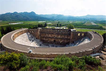 Turkey, Mediterranean Region, Turquoise Coast, Pamphylia, Aspendos 2nd century Roman theatre, built under Emperor Marcus Aurelius Stock Photo - Rights-Managed, Code: 862-08273997