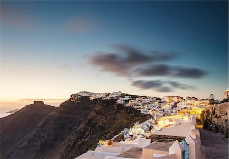 Greece, Santorini, Firostefani. A view of Firostefani and Imerovigli at dusk. Stock Photo - Rights-Managed, Code: 862-08699269