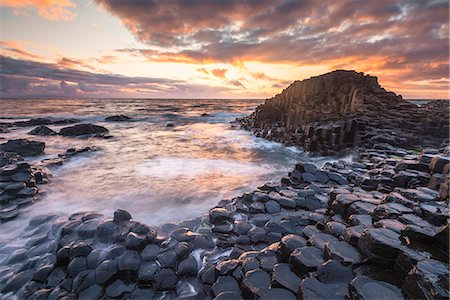 Giant's Causeway, County Antrim,  Ulster region, northern Ireland, United Kingdom. Iconic basalt columns. Stock Photo - Rights-Managed, Code: 862-08699373