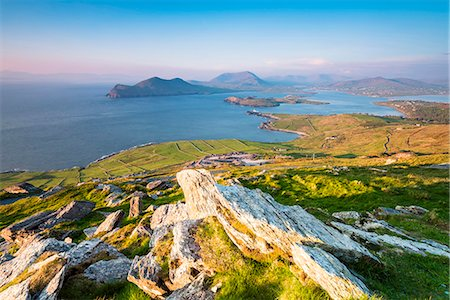 Valentia island (Oilean Dairbhre), County Kerry, Munster province, Ireland, Europe. View from the Geokaun mountain and Fogher cliffs at sunset. Stock Photo - Rights-Managed, Code: 862-08699409
