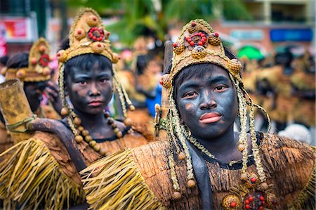 pictures philippine festivals philippines - Participants celebrate Ati-Atihan festival in honor of Santo Niño, Kalibo, Aklan, Western Visayas, Philippines Stock Photo - Rights-Managed, Code: 862-08699703