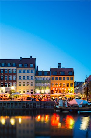 european bar building - Denmark, Hillerod, Copenhagen. Colourful buildings along the 17th century waterfront of Nyhavn at dusk. Stock Photo - Rights-Managed, Code: 862-08718561