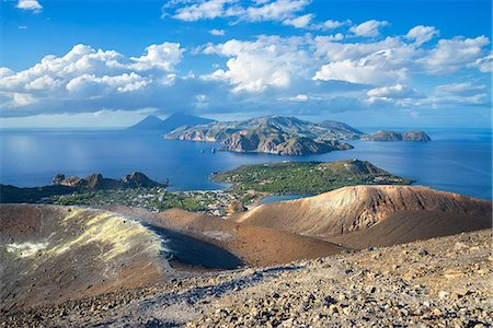 Europe, Italy, Sicily, Aeolian Islands, Vulcano Island, High angle view of , Aeolian Islands from Vulcano island Gran Cratere, Stock Photo - Rights-Managed, Code: 862-08719063