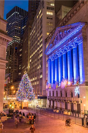 stock exchange building - New York Stock Exchange with Christmas tree by night, Wall Street, Lower Manhattan, New York, USA Stock Photo - Rights-Managed, Code: 862-08720027