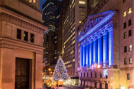 stock exchange building - New York Stock Exchange with Christmas tree by night, Wall Street, Lower Manhattan, New York, USA Stock Photo - Rights-Managed, Code: 862-08720028