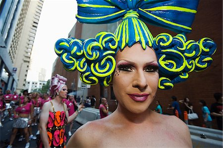 Participants in elaborate dress arrive for the annual Gay and Lesbian Mardi Gras on Oxford Street in Sydney Stock Photo - Rights-Managed, Code: 862-03288894