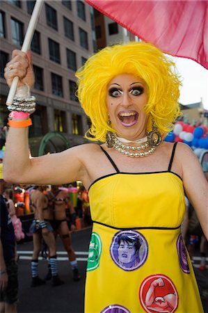Mitzi Macintosh - a colourful personality of the annual Sydney Gay and Lesbian Mardi Gras Parade. The festival finale is the world's largest night time parade. Stock Photo - Rights-Managed, Code: 862-03288896