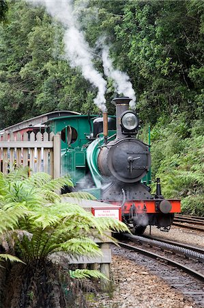 steam engine - The restored West Coast Wilderness Railway between Strahan and Queenstown,based on the Abt system imported from Switzerland. Stock Photo - Rights-Managed, Code: 862-03288971
