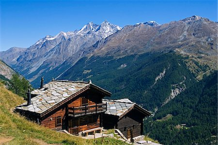 slate - A traditional slate roofed house above Zermatt Valley,Zermatt,Valais,Switzerland Stock Photo - Rights-Managed, Code: 862-03354715