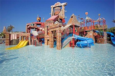 United Arab Emirates,Dubai,The Atlantis Palm Hotel. The 'Splashers Children Play Area' of Aquaventures Water Park. Stock Photo - Rights-Managed, Code: 862-03355359