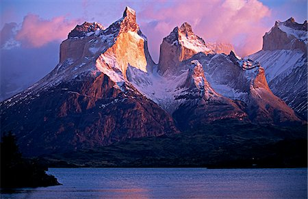 Paine Massif at dawn,seen across Lago Pehoe,Torres del Paine National Park,Chile. Stock Photo - Rights-Managed, Code: 862-03351985