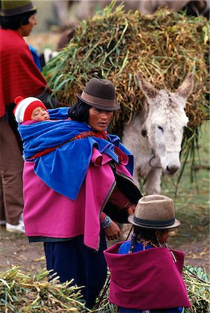 Local woman carrying baby in a wrap in a traditional market,Zalaron,Chimborazo Province,Ecuador Stock Photo - Rights-Managed, Code: 862-03352685