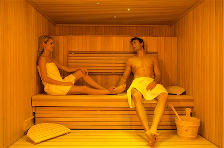 Northern Ireland,Fermanagh,Enniskillen. A couple unwind in the sauna in the Thai spa at Lough Erne Golf Resort . Stock Photo - Rights-Managed, Code: 862-03353416