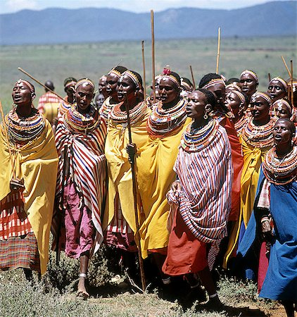 During Samburu wedding celebrations,married women congregate apart from the warriors and young girls to sing in praise of the couple and to dance. Stock Photo - Rights-Managed, Code: 862-03366056