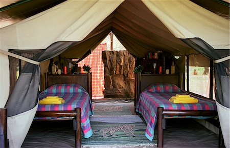 Kitich Camp - Guest tent bedroom with en suite bathroom tent Stock Photo - Rights-Managed, Code: 862-03366362