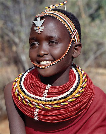 A pretty Samburu girl in traditional attire. Stock Photo - Rights-Managed, Code: 862-03366588