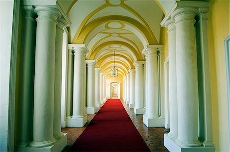 Ornate interior corridor of the baroque style Rundales Palace (Rundales Pils) designed by Architect Bartolomeo Rastrelli Built in 18th Century for Ernst Johann von Buhren (1690-1772) Duke of Courland Stock Photo - Rights-Managed, Code: 862-03367095